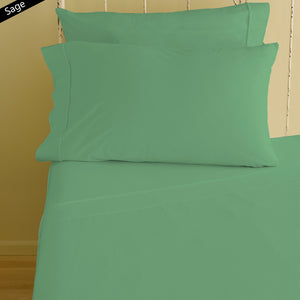 Sage Fitted Sheet and Pillowcase Bliss Sateen Solid