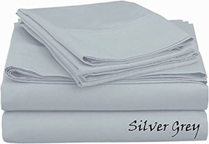 Sateen Sheet Set With Extra Pillowcase-Comfy Solid Light Grey - aanyalinen