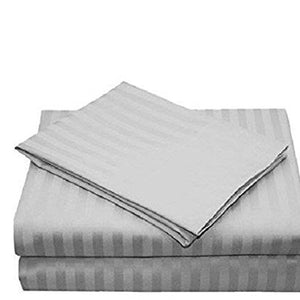 Light Grey Bed Sheets Set Comfy Stripe Sateen