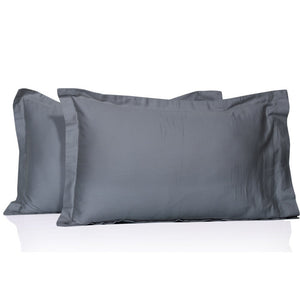 Light Grey Pillow Shams Solid Bliss Sateen