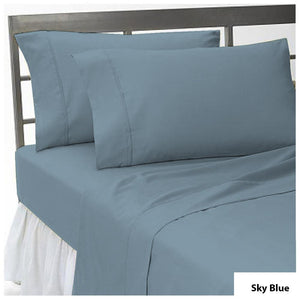 Sky Blue Flat Sheet with Pillowcase Comfy Solid Sateen