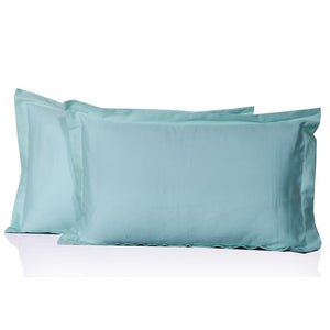 Light Blue Pillow Shams Solid Bliss Sateen