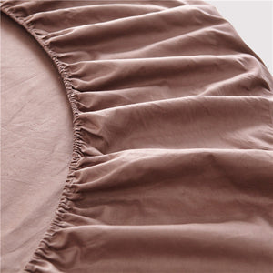 Taupe Round Bed Sheets Set Solid Bliss Sateen