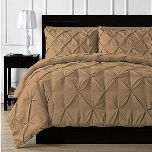 Taupe Pintuck Duvet Cover
