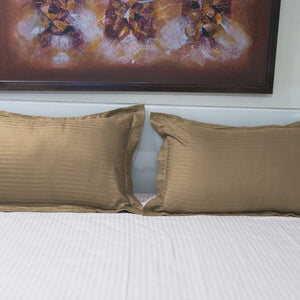 Taupe Stripe Pillow Shams