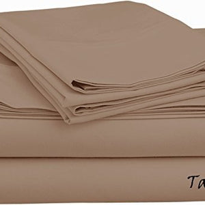 Sateen Sheet Set With Extra Pillowcase-Comfy Solid Taupe