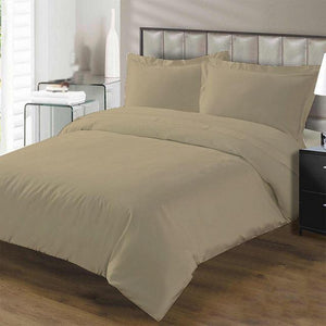 Taupe duvet cover set with fitted sheet