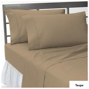 Taupe flat sheet with pillowcase