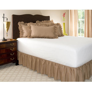 Taupe gathered bed skirt