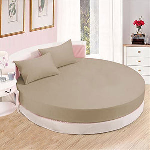 Taupe round fitted sheet with pillowcase