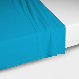Flat Sheet Solid Sateen Comfy Turquoise