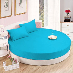 Turquoise Round Bed Sheets Set comfy Solid Sateen