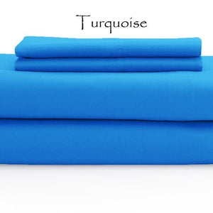 Turquoise Bed Sheets Set Solid Comfy Sateen