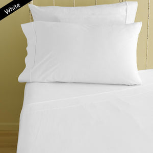 Bliss Solid Fitted and Pillowcase Sateen White - aanyalinen