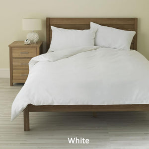 Bliss White Duvet Cover Set Sateen Solid Sateen