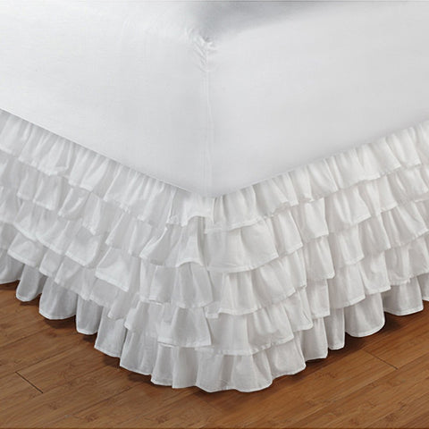 Multi Ruffle Bed skirt Solid White - aanyalinen