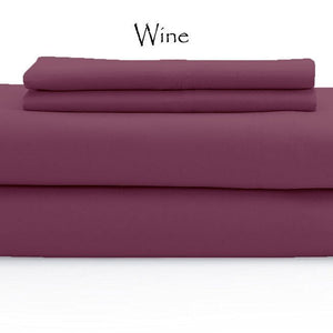 Wine Bed Sheets Set Sateen Solid Comfy