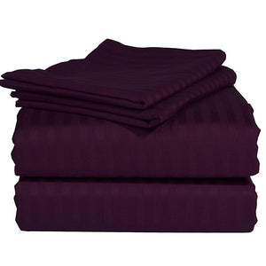 Comfy Stripe Sheet Set Wine Sateen