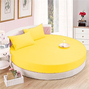 Yellow Round Bed Sheets Set Solid Sateen Comfy