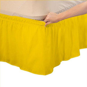 Yellow wrap around bed skirt