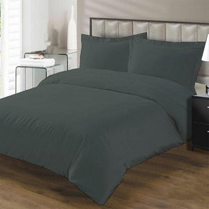 grey duvet set with flat sheet