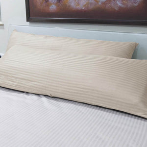 ivory 20x54 stripe body pillow cover