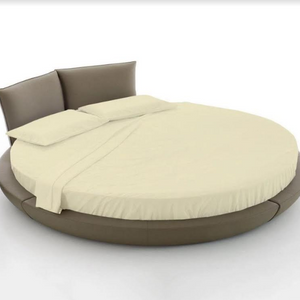 ivory round bed sheet set