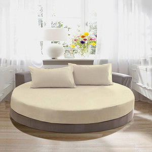 ivory round fitted sheet with pillowcase
