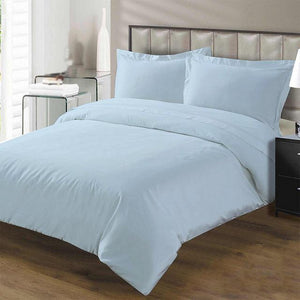 light blue duvet cover set with fitted sheet