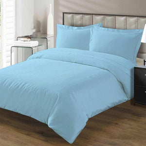 light blue duvet set with flat sheet