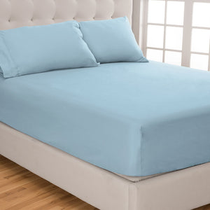 Light Blue Fitted Sheet and Pillowcase