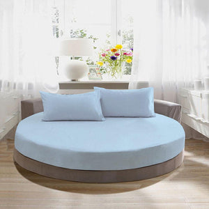 light blue round fitted sheet with pillowcase