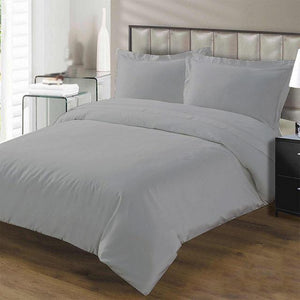 light grey duvet set with flat sheet