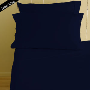 Navy Blue Fitted Sheet and Pillowcase Bliss Sateen Solid