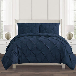 navy blue pintuck duvet cover