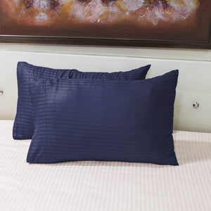 navy blue striped pillowcase
