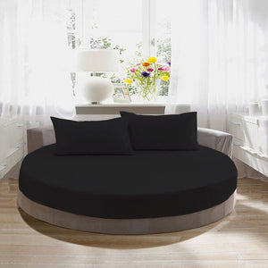 Sateen Round Sheet Set Comfy Solid 96 Inch Diameter Black