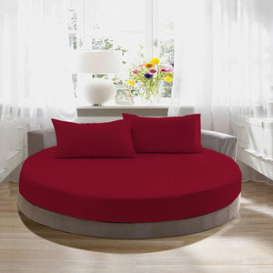 Burgundy Round Fitted Sheet with Pillowcase