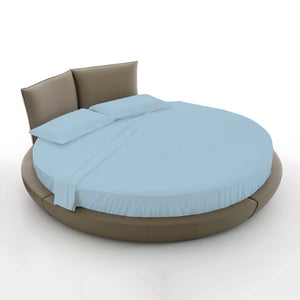 Light Blue Round Bed Sheets Set