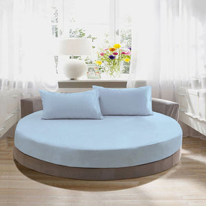 Light Blue Round Bed Sheets Set Solid Bliss Sateen