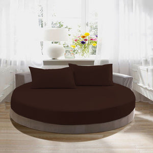 Chocolate Round Fitted Sheet and Pillowcase