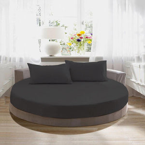Round Fitted and Pillowcase Sateen Comfy Solid Dark Grey - aanyalinen