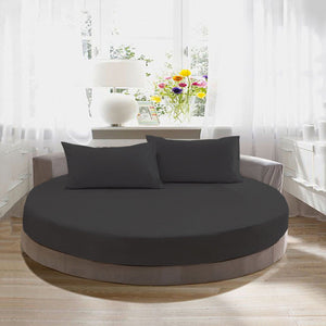 Comfy Round Sheet Set Solid 84 Inch Diameter Dark Grey