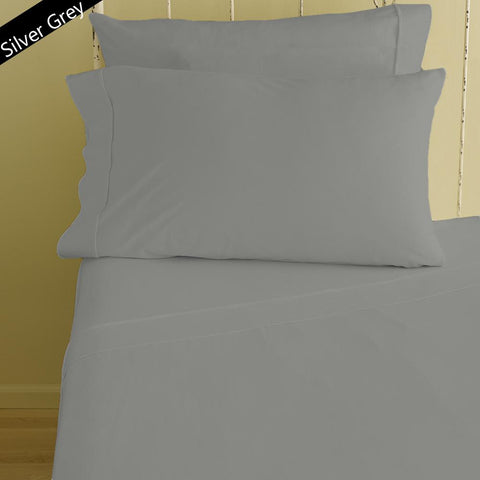 Bliss Solid Fitted and Pillowcase Sateen Light Grey - aanyalinen