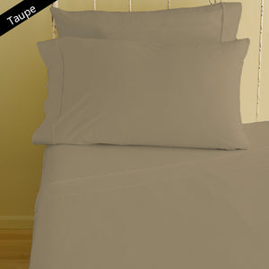 Taupe Fitted Sheet and Pillowcase Bliss Sateen Solid