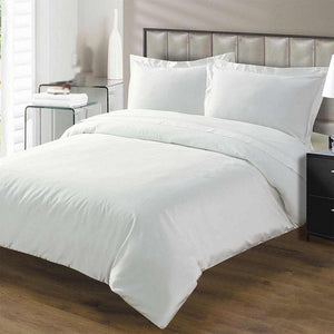 white duvet set with flat sheet