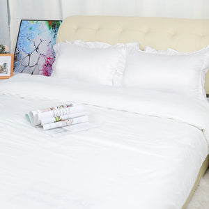 white ruffle pillow sham