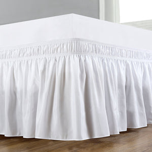 White Wrap Around Bed Skirt Solid Comfy Sateen