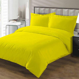 yellow duvet cover with fitted sheet