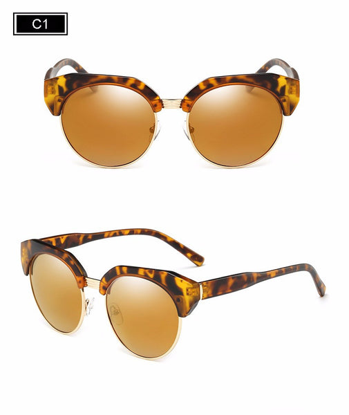 ROYAL GIRL Half-Frame Imitation Wood Cat Eye Sunglasses